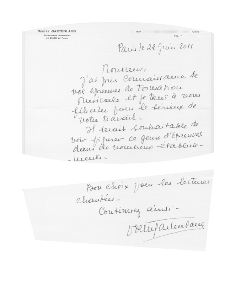 Letter from Madame Gartenlaub to your ear training teacher, Mr. Fabrice Muller (Original in French)